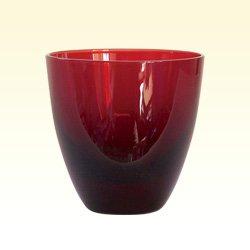 被せガラス|ぐい呑銅赤
